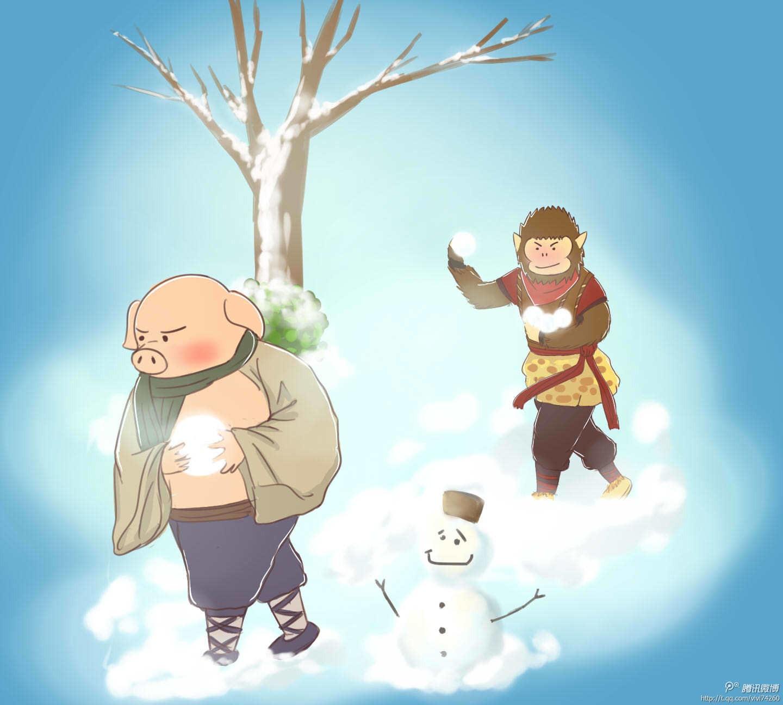 系手绘 冬天下雪了