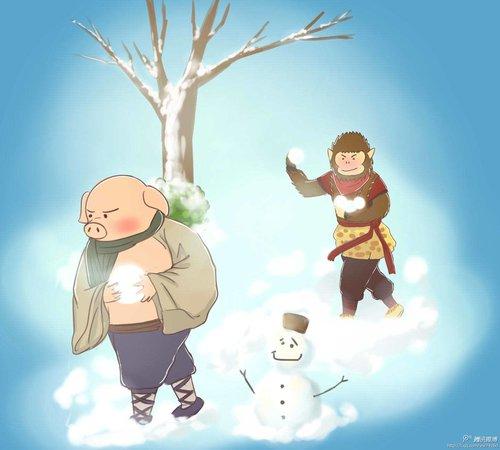 图赏:斗战神玩家治愈系手绘 冬天下雪了
