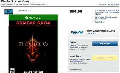 《暗黑破坏神3》Xbox One版惊现国外网店