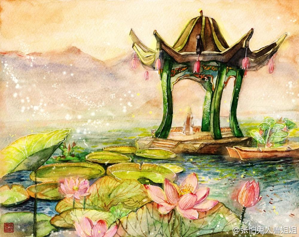《古剑2》桃源仙居场景手绘图