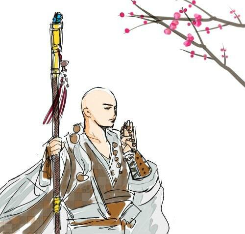 听雨轩玩家手绘 天刀和尚樱花树下作诗