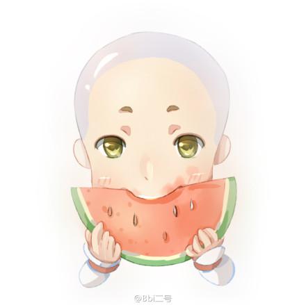 《剑网3》萌图 天那么热要吃西瓜吗?