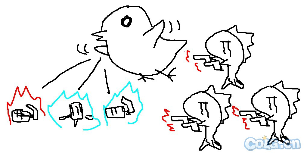 玩家恶搞手绘女枪二觉变鲸鱼