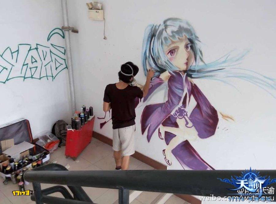玩家自制游戏同人【墙绘】:紫薇套装的少女
