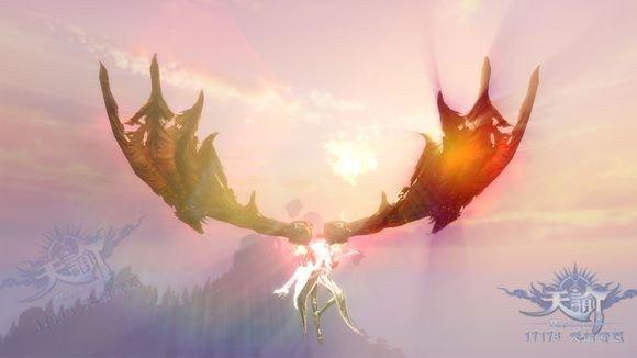 新龙翼·蔽日翅膀飞升后的外观展示:火焰环绕