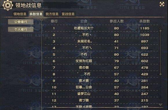 天谕【灵墟秘境】服务器7月18日领地战战报