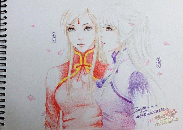 天龙八部玩家手绘:万紫千红时装彩铅版