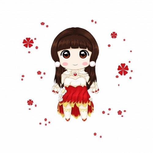 原创手绘作品分享!q版天龙郁香馨芳酡红情侣_天龙八部
