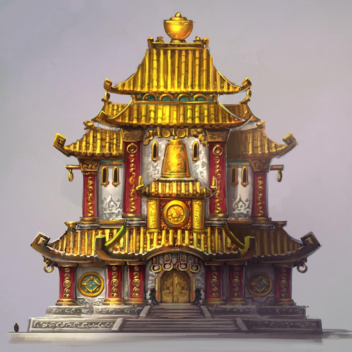 中国风 原画/白墙金瓦!熊猫人之谜的中国风建筑概念原画...