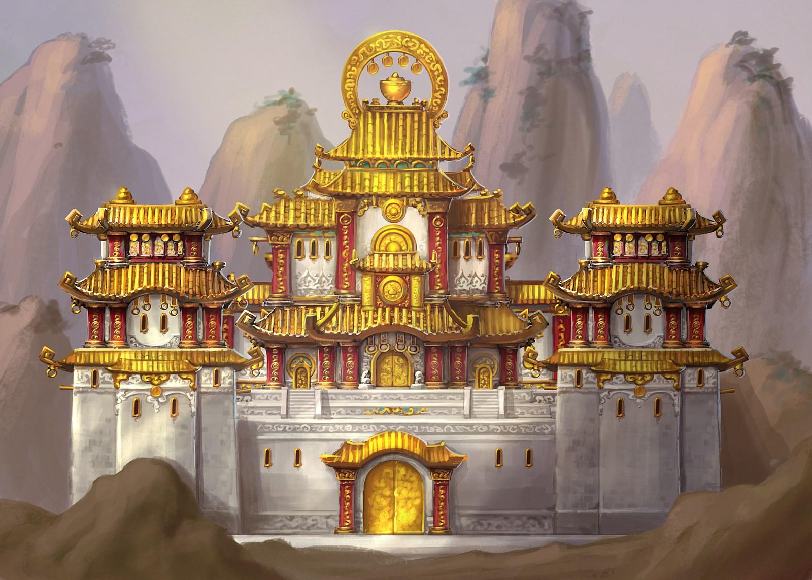 中国风 设计 原画/白墙金瓦!熊猫人之谜的中国风建筑概念原画...