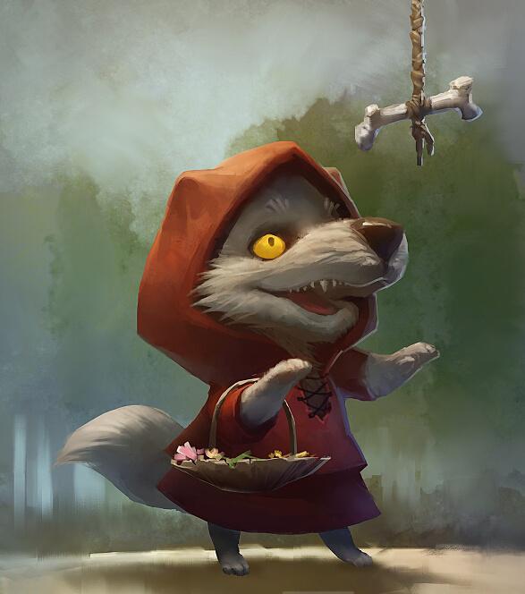 魔兽世界玩家原创画作:wiwo小红帽狼人妹纸