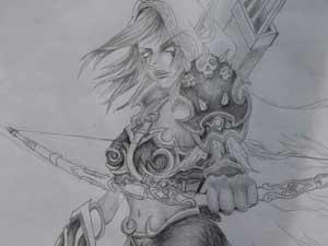 玩家原创画作:纯手绘的铅笔画 希尔瓦娜斯