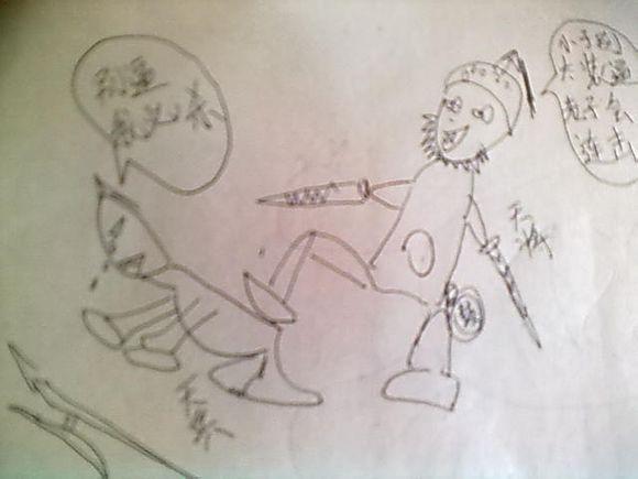 可爱小孩素描画